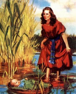 Изображение для главы: Младенец Моисей в корзинке