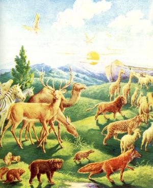 Начало потопа.  Долго строился ковчег.  И когда Ной сделал все, что повелел ему Бог, и ковчег был готов...